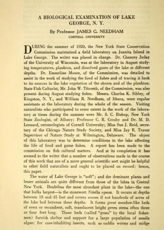 A biological examination of Lake George, N.Y.
