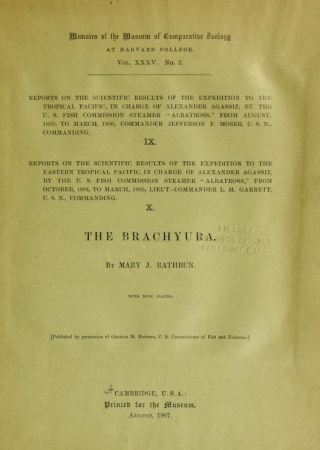 The Brachyura /  by Mary J. Rathbun ; with nine plates.