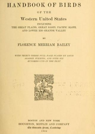 Handbook of birds of the western U. S.
