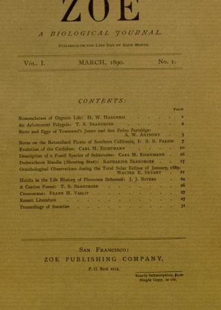 T.S. and Katharine Brandegee, Zoe: A biological journal | Biodiversity Heritage Library